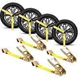 """fomobest 2""""x 120'' Vehicle Car Tie Down Straps for Trailers, Wheel Tire Straps Hauler Heavy Duty with Flat Hooks"""