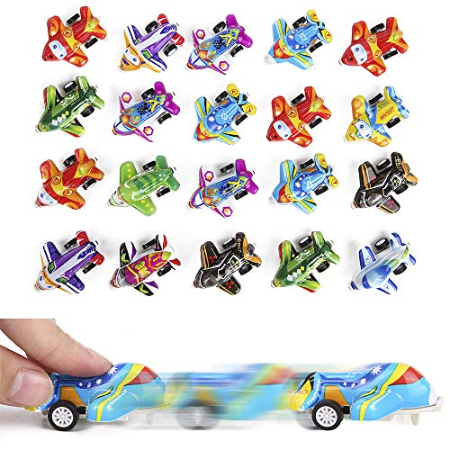 PROLOSO Pull Back Toy Airplane Vehicle Playset Pull Back Plane Toy...