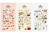Suatelier Cute Deco Korean Sticker Stationary for Scrapbooking Album Bullet Journal Diary Planner DIY Craft | Food Trip #4, i Like Bread, i Like Coffee (3 Stickers)