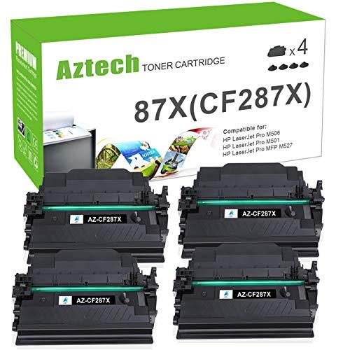 Aztech Compatible Toner Cartridge Replacement for HP 87X 87A CF287X CF287A HP Laserjet Enterprise M506 M506dn M506n Pro M501 M501dn HP M506 M506x M527 M527dn (Black,4-Pack)