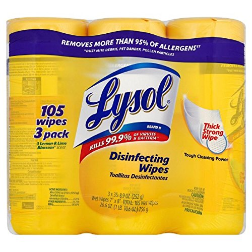 Lysol Disinfecting Wipes Value Pack, Lemon and Lime Blossom, 160 ct (Pack of 4)