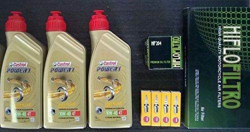 Kit de revisión para Yamaha FZ6600, con filtro de aceite, filtro de aire, bujías y aceite Castrol, 10W-404T