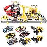 MAJOZ0 Aparcamiento infantil, garaje con 8 minicoches, tren de carreras de coches, juguete de regalo para niños
