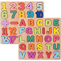 Set of 2 Fun Toys Wooden Alphabet Puzzles and Numbers