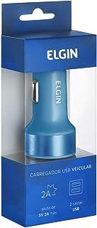 Carregador de Celular, Elgin, Veicular, Entrada 12v, 2 Saídas, Azul
