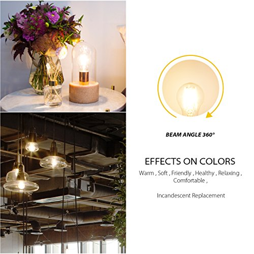 A19 LED Vintage LED Filament Bulb E26 Base,LVWIT Dimmable 7W (60W Equivalent),2700K Warm White 800 Lumens,Omnidirectional, UL-Listed, Pack of 6