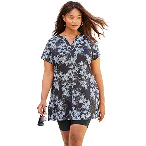 Swimsuits For All Women's Plus Size Short-Sleeve Swim Tunic - 26, Black White Stencil Floral