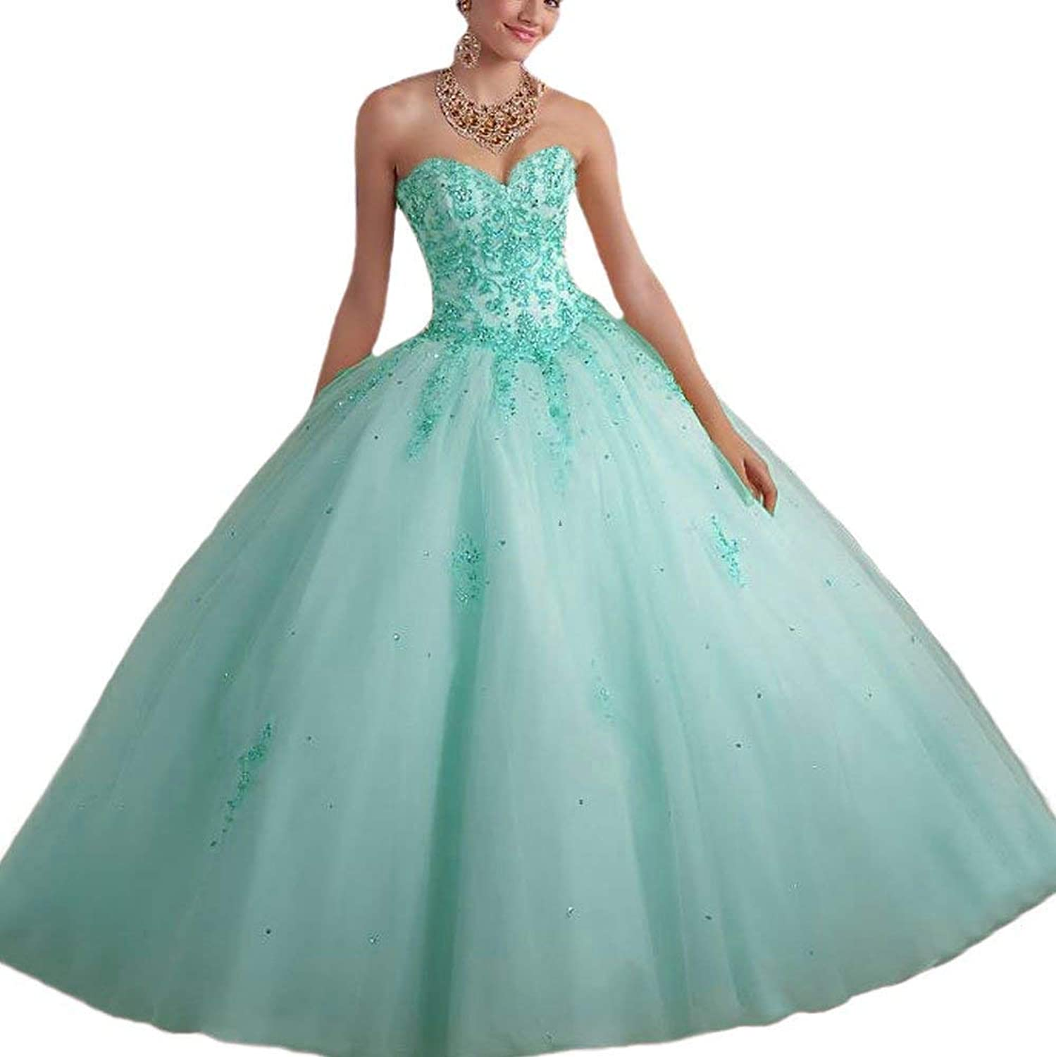 CharmingBridal Beaded Applique Ball Gown Long Prom Quinceanera Dresses