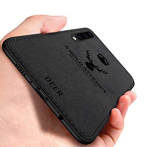 EUDTH Capa para Huawei P30 Lite, capa traseira ultrafina com estampa de veado e textura de tecido de TPU macio à prova de choque capa protetora para Huawei P30 Lite - preta