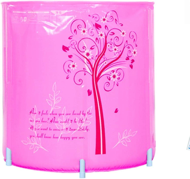 ALICE&YGG Folding Bucket Household Bathtub Adult Bathtub Free Inflatable Bathtub Thicken PVC bluee Pink Bath Tub,Pink