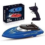 LQKYWNA 2.4GHz Giocattolo Motoscafo con Telecomando & Cavo USB, 25 Km/H Ad Alta velocità della Barca del Modello Giocattolo dell'Acqua Lago Uso Esterno (Blu)