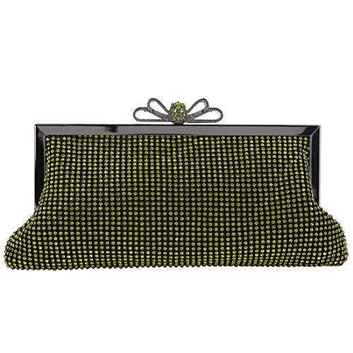 Fawziya Bow Clutch Purse Soft Crystal Evening Bags And Clutches-Green