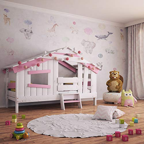 BIBEX APART Chalet Kinderbett, Spielbett, Jugendbett, Spielhaus, Massive Kiefer, zart-rosa (ohne...