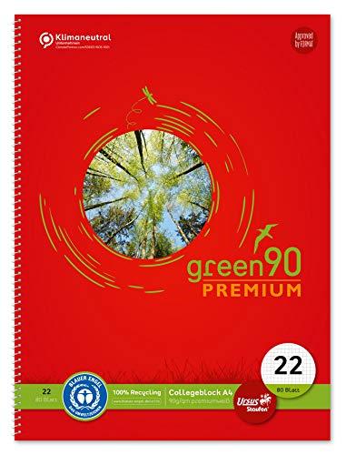 Staufen Staufen Green 40835022 - Cuaderno (DIN A4, lineado 22 (cuadrícula de 5 mm), 80 hojas, 4 agujeros, papel reciclado blanco de 90 g/m², 1 unidad)
