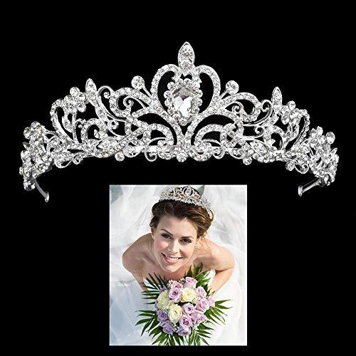 Diadem Krone für Hochzeit Brautschmuck Brautaccessoires Kristall Haarband Krönchen Braut Tiara Haarschmuck Haarzusätze