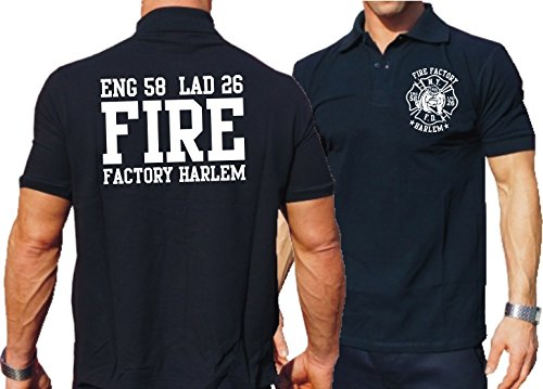 Polo bleu marine, New York Fire deptartment – Fire Factory Harlem M Bleu marine - bleu marine
