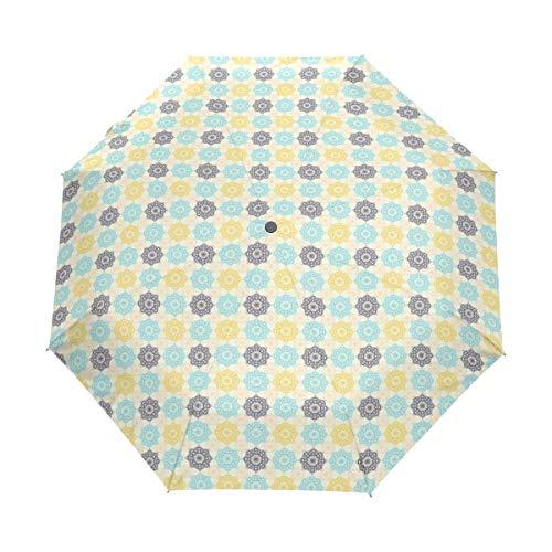 SUHETI Regenschirm Taschenschirm,Marokkanischer Henna Kunst Retro Volksdruck,Auf Zu Automatik,windsicher,stabil