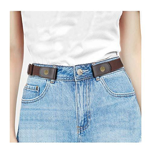 JasGood Schnallenfreier Stretch Damen Gürtel für Jeans Hose, Plus Size Elastischer Unsichtbare Gürtel ohne Schnalle für Damen bis zu 120cm, Kaffee, Hosengrößen 80cm-120cm