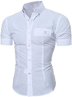 Realdo Mens Shirt, Summer Casual Solid Short Sleeve Button Down T-Shirt Top Blouse