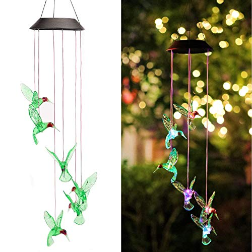 Isyunen Solar Hummingbird Wind Chimes Color Changing LED Solar Mobile Wind Chime Waterproof Solar Powered Six Hummingbird Wind Chime for Home, Party,Christmas, Garden, Yard Decoration,Festival Decor (Colored Hummingbird)