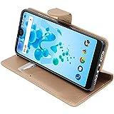 ebestStar - kompatibel mit Wiko View 2 Pro Hülle Kunstleder Wallet Case Handyhülle [PU Leder], Kartenfächern, Standfunktion, Gold [Phone: 153 x 72.6 x 8.3mm, 6.0'']
