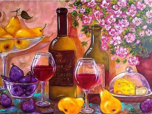 1500 Piezas de Rompecabezas de Madera para Adultos y niños, Fruta de Vino Tinto Familia Adulto Rompecabezas 87x57cm