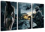 Dark Battlefield 3-Teilig auf Leinwand, Gesamtformat: