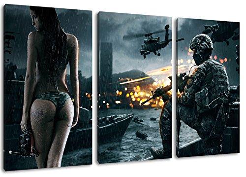 Dark Battlefield 3-Teilig auf Leinwand, Gesamtformat: 120x80 cm fertig gerahmte Kunstdruckbilder als Wandbild - Billiger als Ölbild oder Gemälde - KEIN Poster oder Plakat