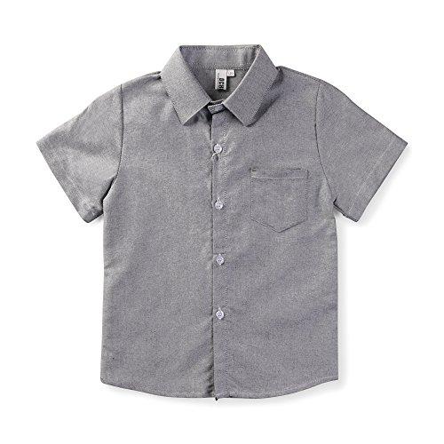 Little Big Boys' Short Sleeve Button Down Cotton Shirt Casual Dress Top Gray Tag 130CM - 5T