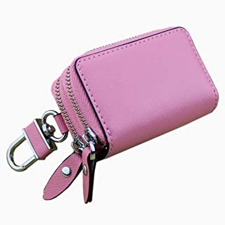 Women's Wallet Cross-Stitched Leather Key Case Popular Double-Layer Zipper Car Key Case (Color : Light Pink, Size : S)