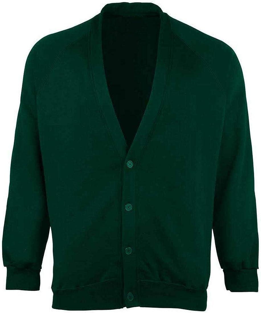 Rimi Hanger Boys School Uniform Open Front Button Cardigan Mens Long Sleeve Pocket Sweater