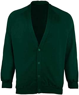 Boys School Uniform Open Front Button Cardigan Mens Long Sleeve Pocket Sweater