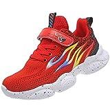 KRONJ Zapatillas Deportivos Niños Niñas Zapatos para Correr Transpirables Antideslizante, Rojo-36