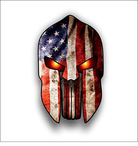 Spartan Helmet Punisher Sticker Grunge Style  American Flag Vinyl Car Bumper Sticker
