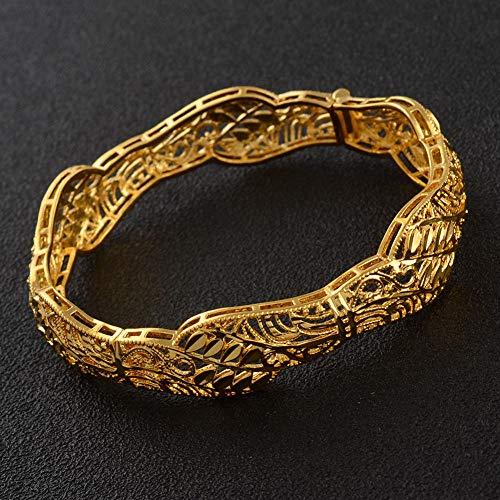 NCDFH Pulsera de brazaletes Que se Pueden Abrir de Color Dorado para Mujer, Regalos de joyería de Boda Africana árabe de Oriente Medio de Dubai # J1004 59mm 61mm