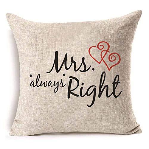 Yilooom Funda de almohada de 50,8 x 50,8 cm, diseño con texto en inglés 'Love Mr Mrs', de lino y algodón, para decoración del hogar, decoración de boda, funda de almohada decorativa #319