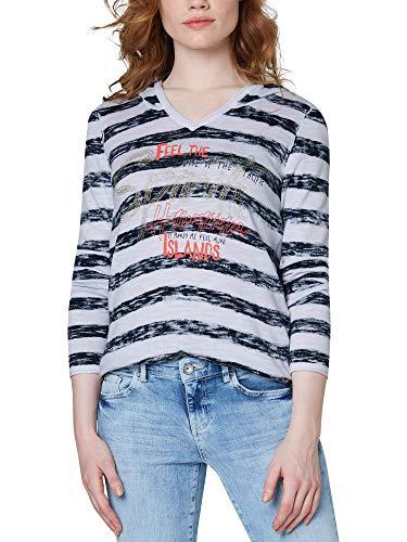 SOCCX Damen Kapuzenpullover mit Streifenprint