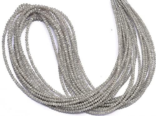 Jaipur Gems Mart Natürliche AAA+ feine graue Diamant-Mikrofacettierte Rondelle-Perlen   15-Zoll-Strang   Seltene weiße Diamant-Edelstein-lose Perlen für Schmuck