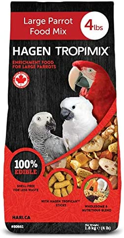 Hagen Tropimix Bird Food, HARI Large Parrot Food with Seeds, Fruit, Nuts, Vegetables, Grains, and Legumes, Enrichment Food