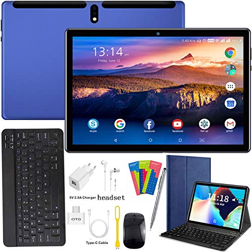 4G Tablet 10 Pollici, 4-core 4GB RAM e 64GB ROM/256 GB Espandibile Android 9.0, Supporto Dual SIM / WIFI / GPS/Bluetooth/OTG/Netflix /Type-C Tablet con Wifi Offerte - Certificato Google GMS (Blue)