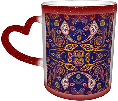 Paisle geométrico abstracto Taza que cambia de color sensible al calor tradicional mágica en el cielo Tazas de café artísticas divertidas Regalos personalizados para los amantes de la famili