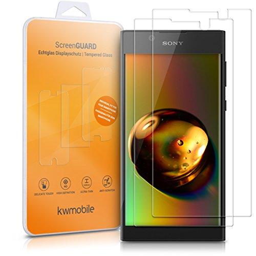 kwmobile 2X Folie kompatibel mit Sony Xperia L1 - Glas Handy Schutzfolie - Full Screen Bildschirm Schutz