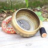 Ouqian Cuenco Tibetano Sakyamuni Buddha Tibetan Singing Bowl Set con Cuenco Tibetano, mazo y cojín de Regalo útil for la meditación, sanación Sana Meditación de Sonido Tazón