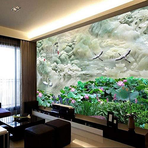 ZJfong Aangepast hoog - Definitie Landschap Jade Carving TV Achtergrond Groot - Schaal muurschilderingen Woonkamer Home Decoratie 300x200cm
