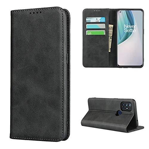 Copmob Hülle Oneplus Nord N10 5G,Premium Flip Leder Brieftasche Handyhülle,[3 Kartensteckplatz][Ständerfunktion][Magnetverschluss],Ledertasche Schutzhülle für Oneplus Nord N10 5G - Schwarz