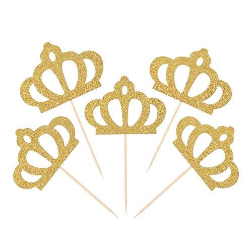 mciskin 50 Stück Gold Glitzer Krone Cupcake Topper Glitter Party Kuchen Dekorationen