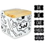 HAND-PRO Salero cerámica Blanco Salero y Azucarero de Cocina (+5 Pegatinas)...