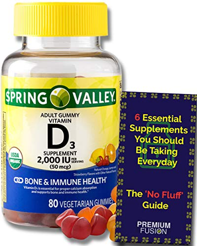 Vitamin D3 Gummies for Adults, 2000 IU, 80 Ct. + Guide to Supplements