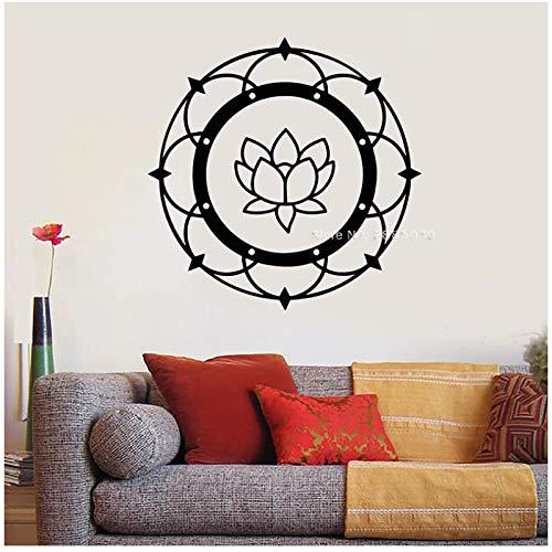 WYLYSD Lotus Mandala Yoga Tema Pared Calcomanía Budismo Meditación Dormitorio Pegatinas Mural Decoración De Pared 72 Cm X 72 Cm