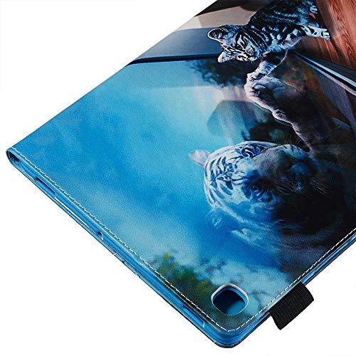 XTstore Hülle für Samsung Galaxy Tab S5e 10.5 Zoll T720/T725, Slim PU Leder Tasche Schutzhülle Smart Case Stoßfest Ständer Cover Weicher Silikon Rückseite Abdeckung mit Kartenfacher, Katze